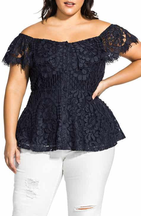 daff11f86a City Chic Off the Shoulder Peplum Top (Plus Size)