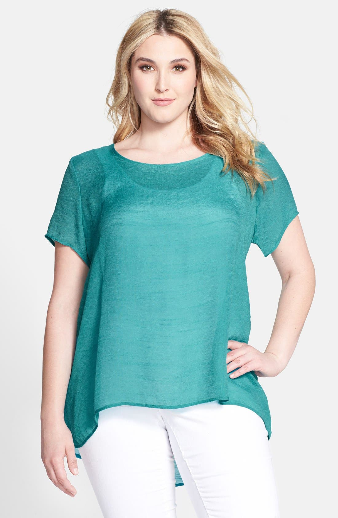 Alternate Image 1 Selected - Bobeau High/Low Textured Blouse (Plus Size)