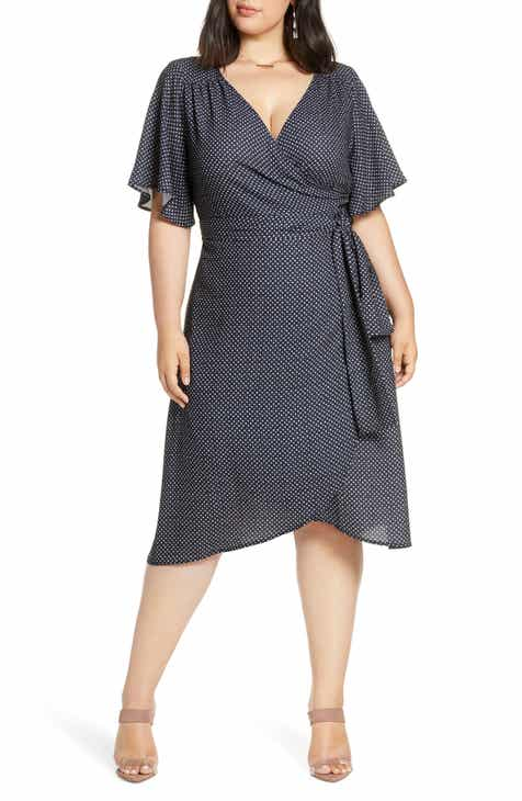 f0e8d2fc22540 Halogen® Faux Wrap Dress (Plus Size)