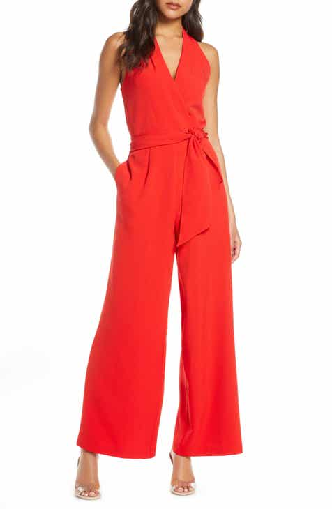 Julia Jordan Surplice Wide Leg Crepe Jumpsuit