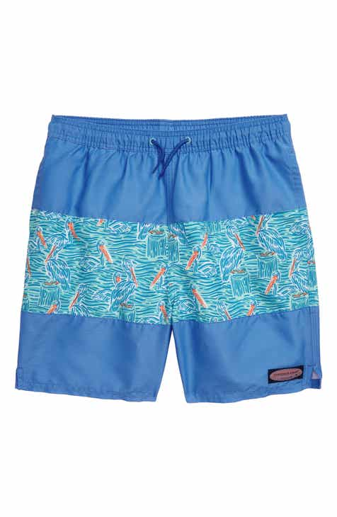 4895db7581d51 vineyard vines Pelican Print Pieced Chappy Swim Trunks (Big Boys)