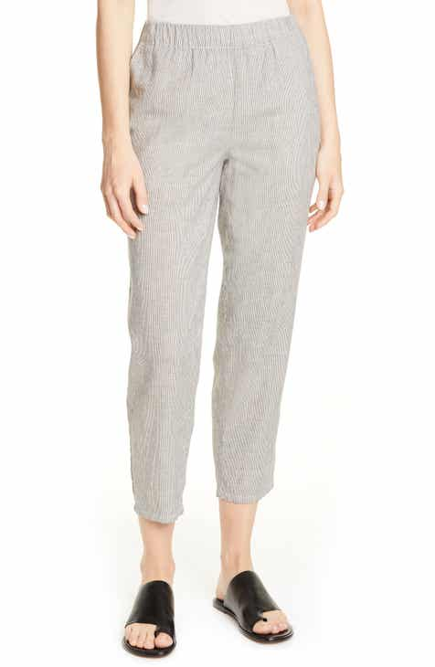 30150018e73903 Eileen Fisher Tapered Stripe Organic Cotton Blend Pants (Regular & Petite)