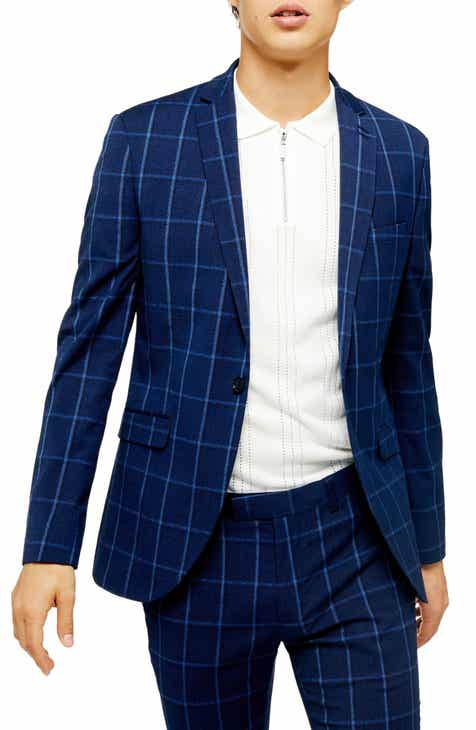 24917767 Topman Page Windowpane Check Super Skinny Suit Jacket
