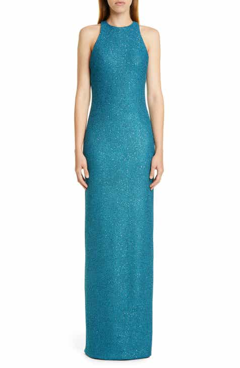St. John Collection Luxe Sequin Tuck Knit Evening Dress
