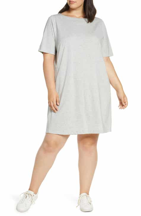 13a35971127c Eileen Fisher Organic Cotton & Refibra™ Lyocell T-Shirt Dress (Plus Size)