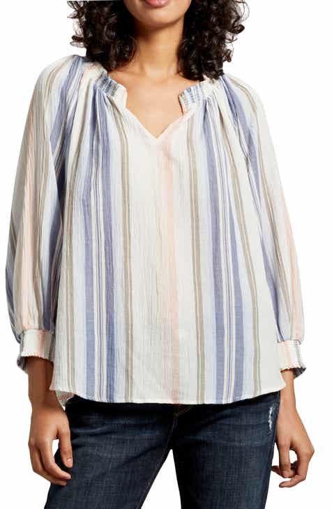 f90c36b3412f81 Michael Stars Emerson Stripe Cotton Gauze Peasant Top