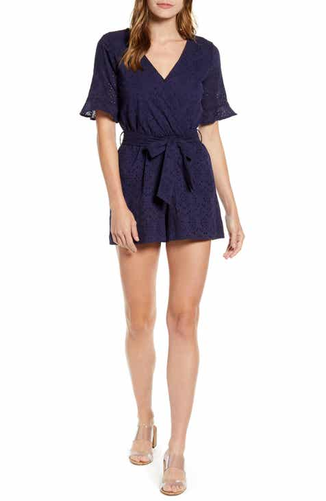d1f25522f3 Gibson x Hot Summer Nights Natalie Wrap Eyelet Romper (Regular & Petite)  (Nordstrom Exclusive)