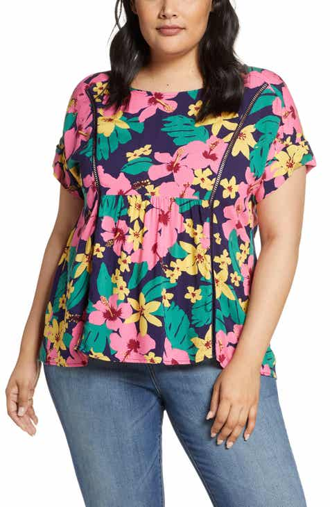 Gibson x Hot Summer Nights Two Peas Trimmed Swing Top (Plus Size) (Nordstrom Exclusive)