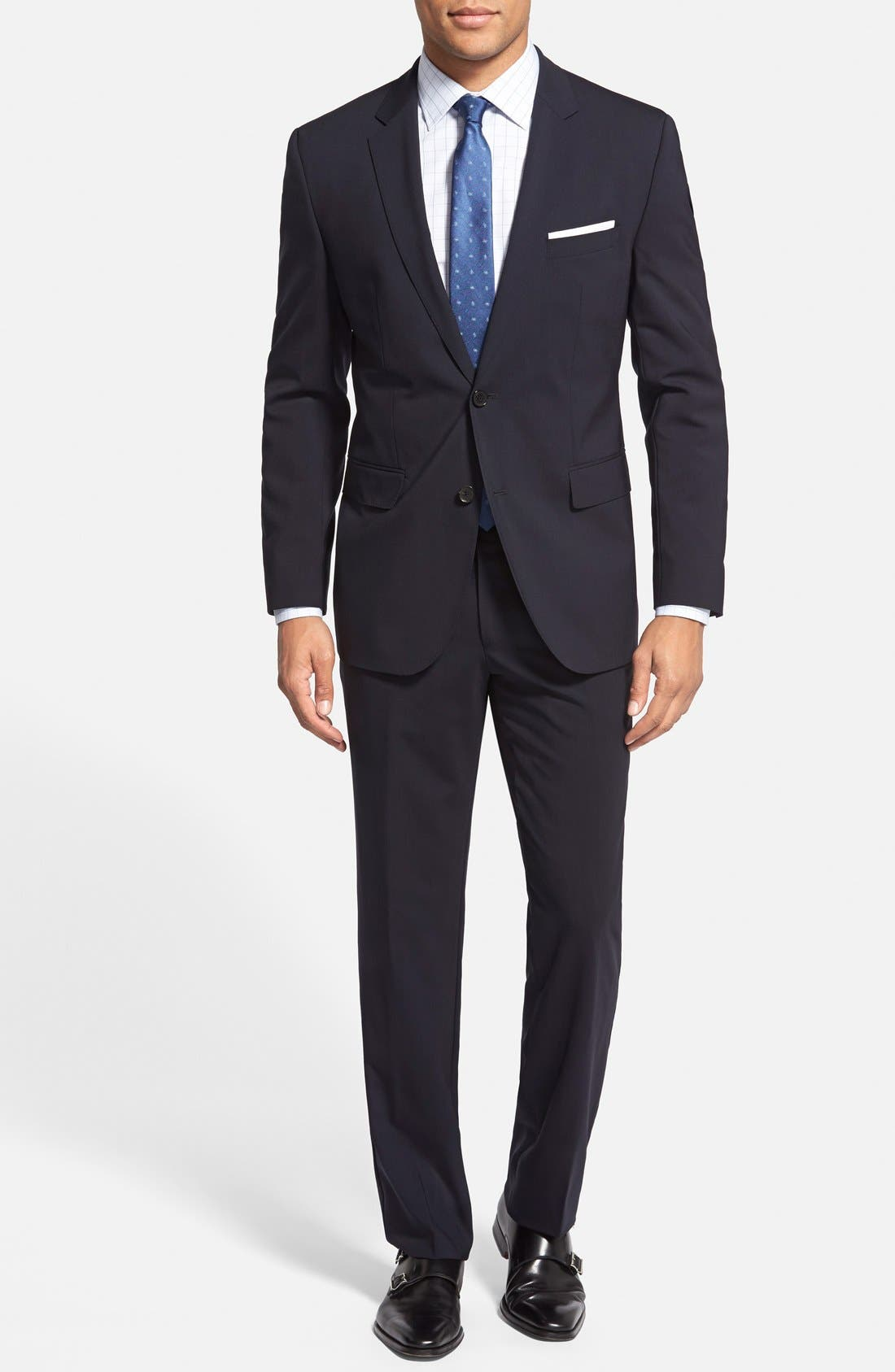 Main Image - BOSS 'Jam/Sharp' Trim Fit Navy Suit