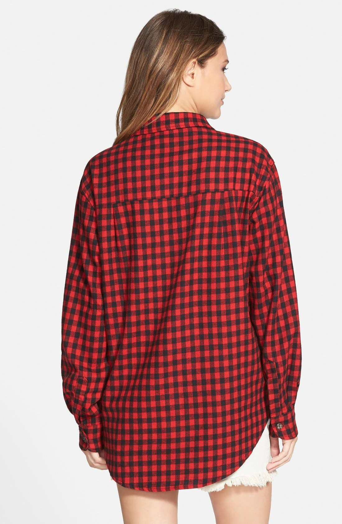 Alternate Image 2  - Mimi Chica Plaid Cotton Flannel Shirt (Juniors)
