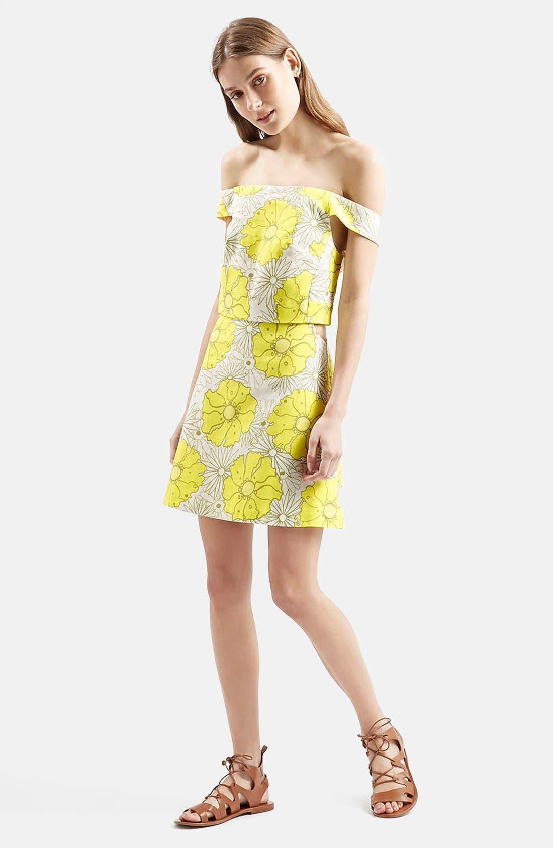 Alternate Image 5  - Topshop 'Abigail' Floral Print Off the Shoulder Dress