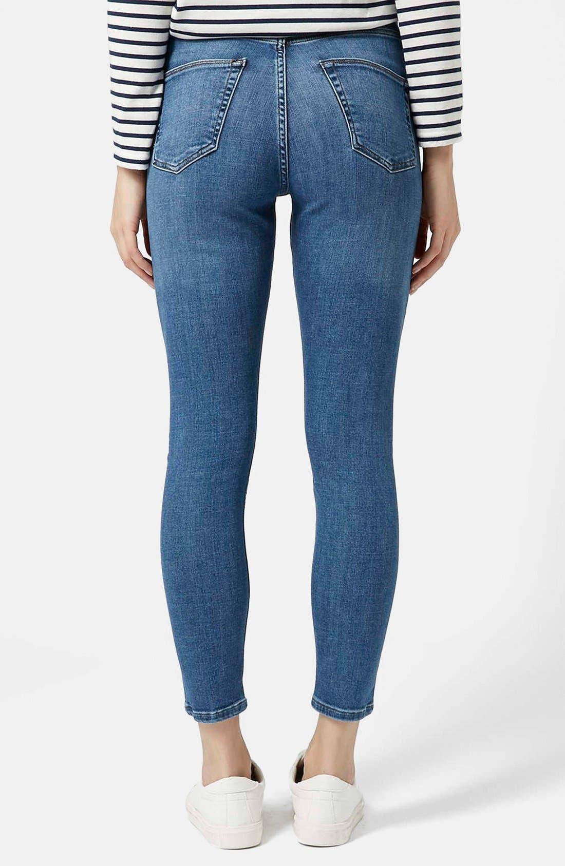 Alternate Image 2  - Topshop Moto 'Cain' High Rise Ankle Jeans (Blue) (Short)