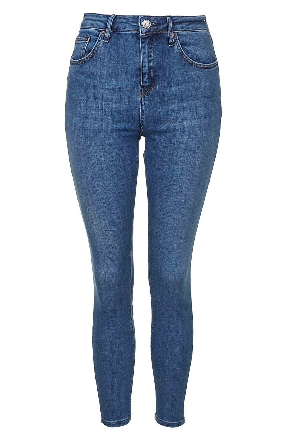 Alternate Image 3  - Topshop Moto 'Cain' High Rise Ankle Jeans (Blue) (Short)