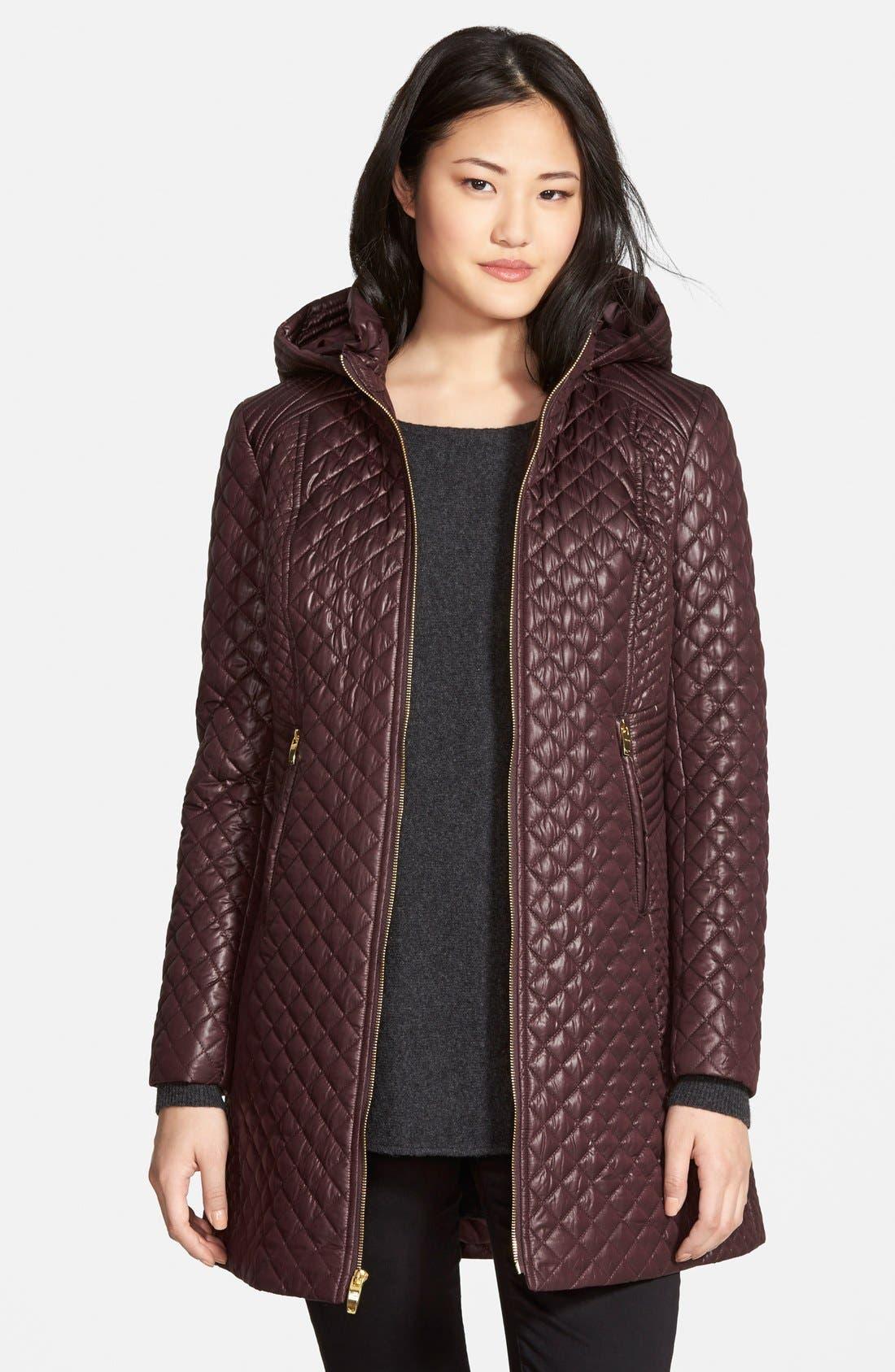Alternate Image 1 Selected - Via Spiga Hooded Front Zip Quilted Coat (Regular & Petite)
