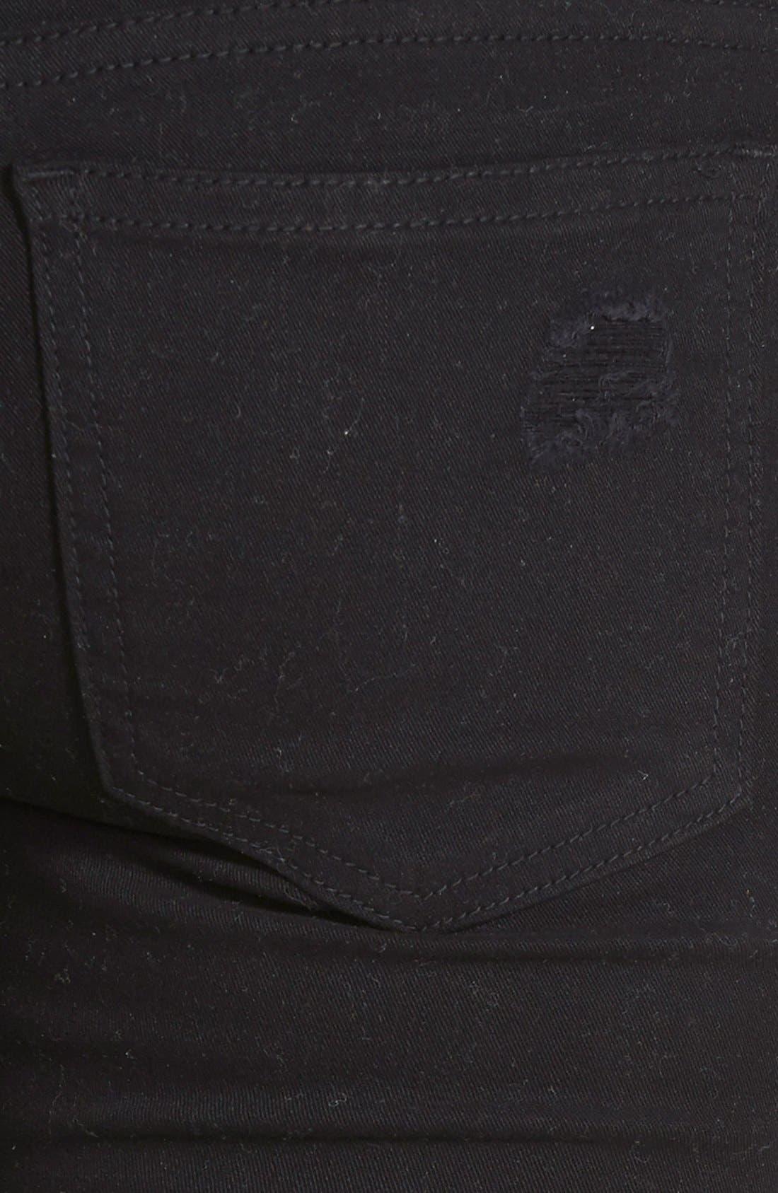 Alternate Image 4  - SP Black Destroyed Low Rise Skinny Jeans (Black) (Online Only)