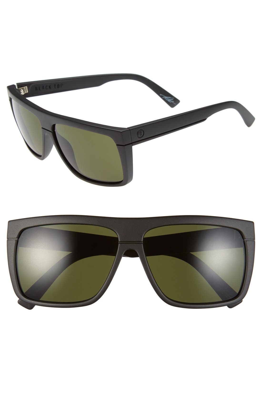 'Black Top' 61mm Flat Top Sunglasses,                         Main,                         color, Matte Black/ Grey