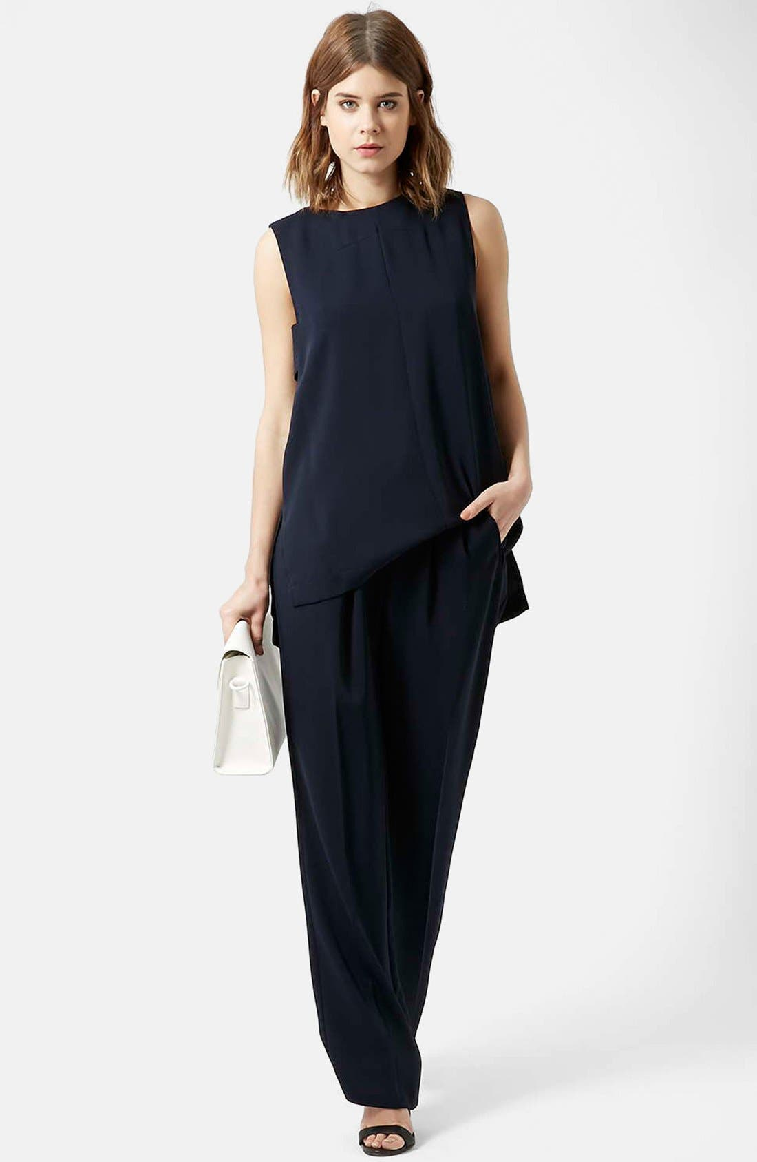 Slouchy Straight Leg Trousers,                             Alternate thumbnail 5, color,                             Navy Blue