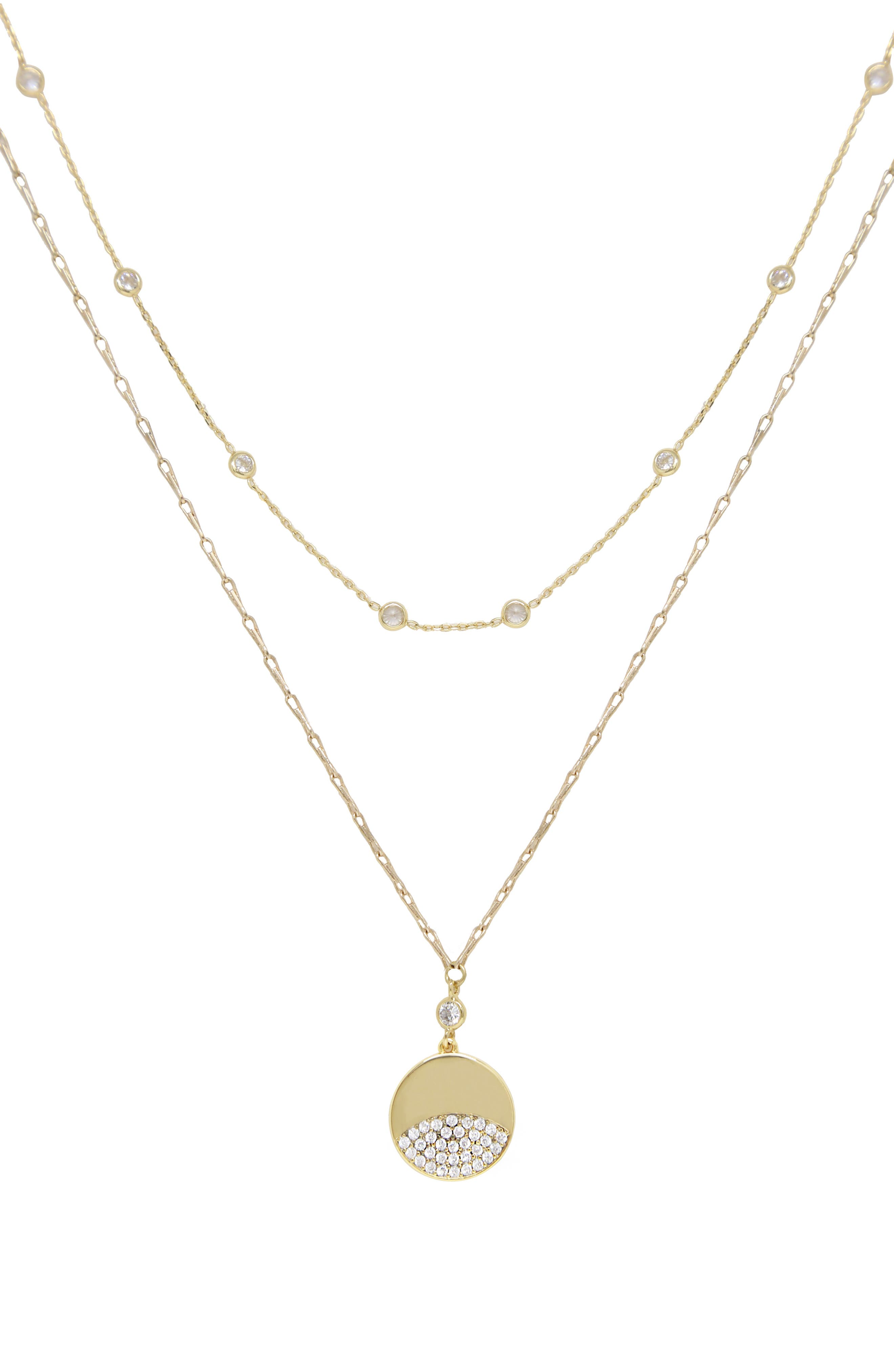 14K Gold Filled Toggle Clasp Pendant Small Crystal Charm Rectangular CZ Stone Toggle Necklace Layered Necklace Set Square Cz Diamond