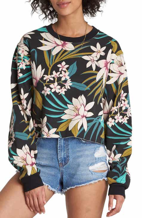 Billabong Chop Up Floral Crewneck Sweatshirt