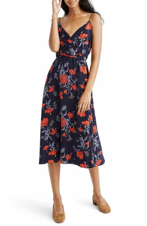 Madewell Windblown Poppies Wrap Dress