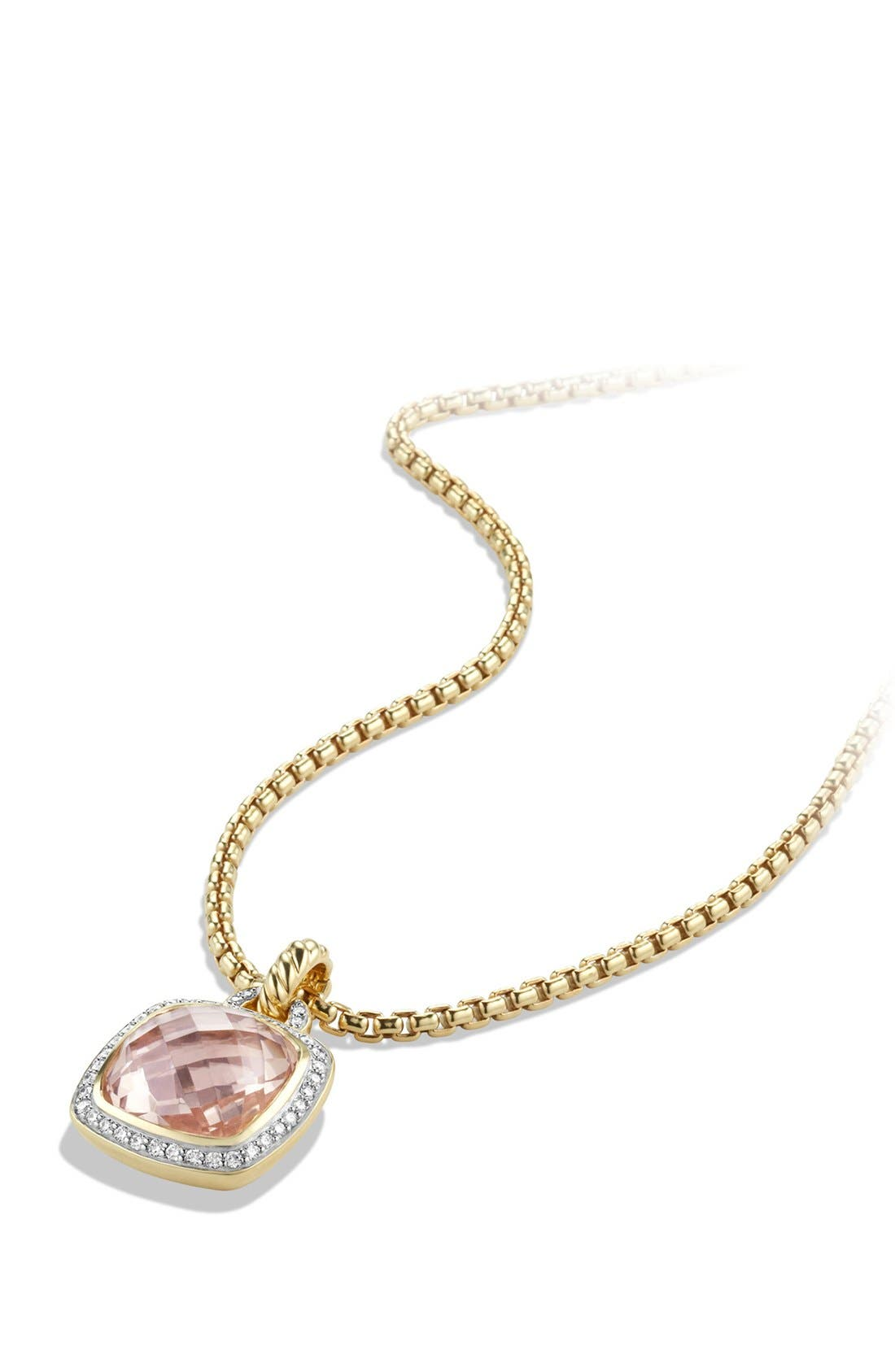'Albion' Pendant with Lemon Citrine and Diamonds in 18k Gold,                             Alternate thumbnail 2, color,                             Morganite