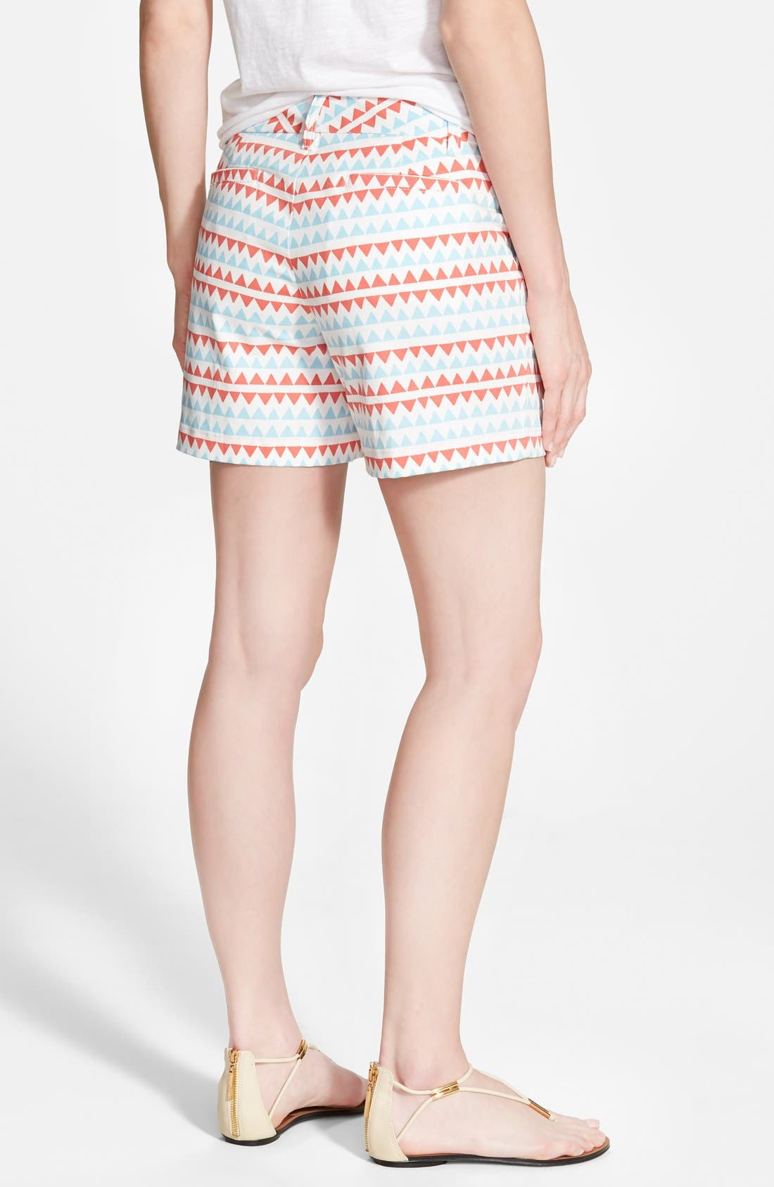 Clean Front Shorts,                             Alternate thumbnail 2, color,                             Ivory Cloud- Coral Stripe