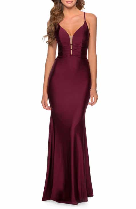 La Femme Triple Twist Detail Satin Jersey Trumpet Gown