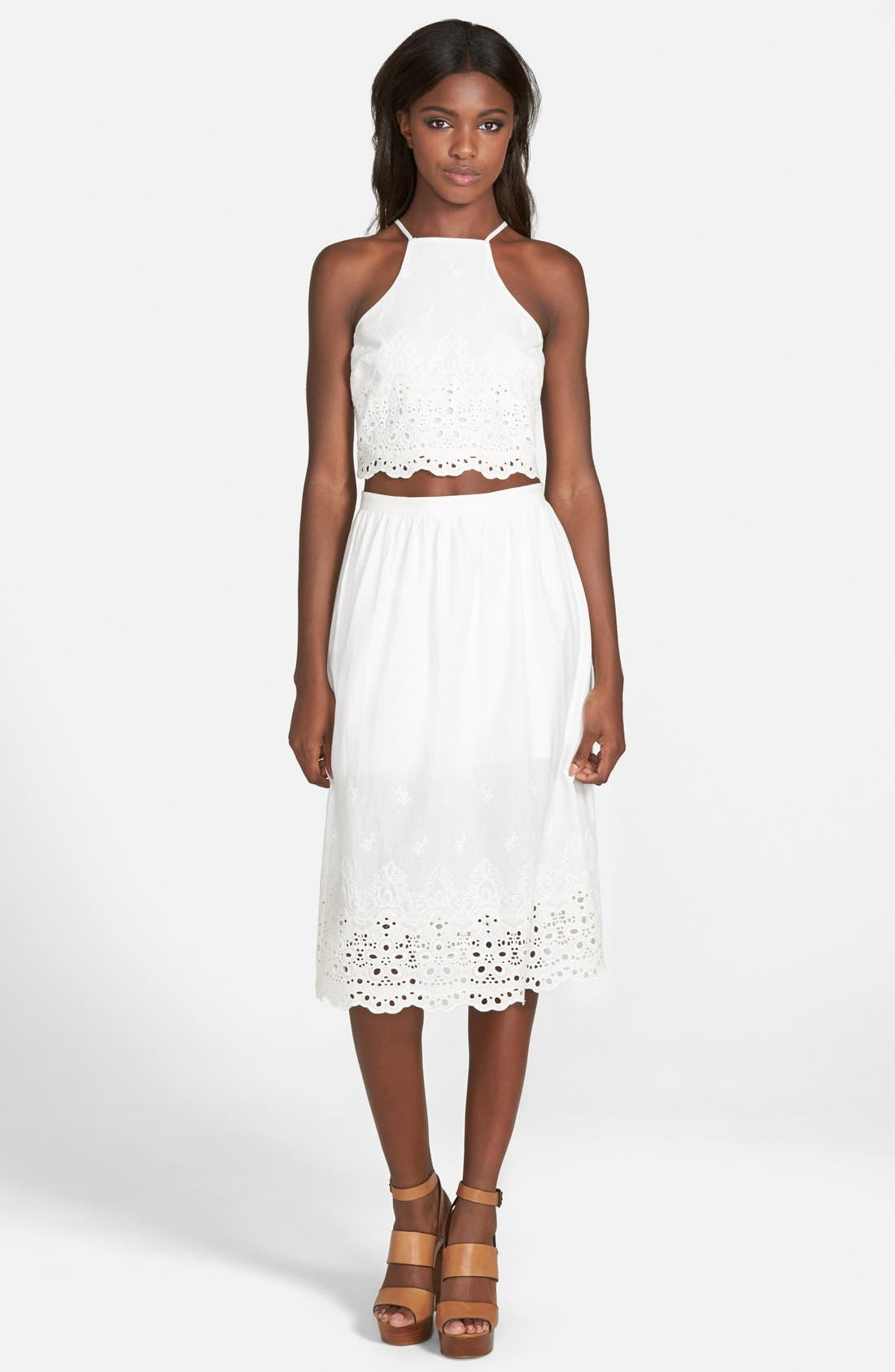 Alternate Image 3  - Lucca Couture Eyelet Crop Halter Top