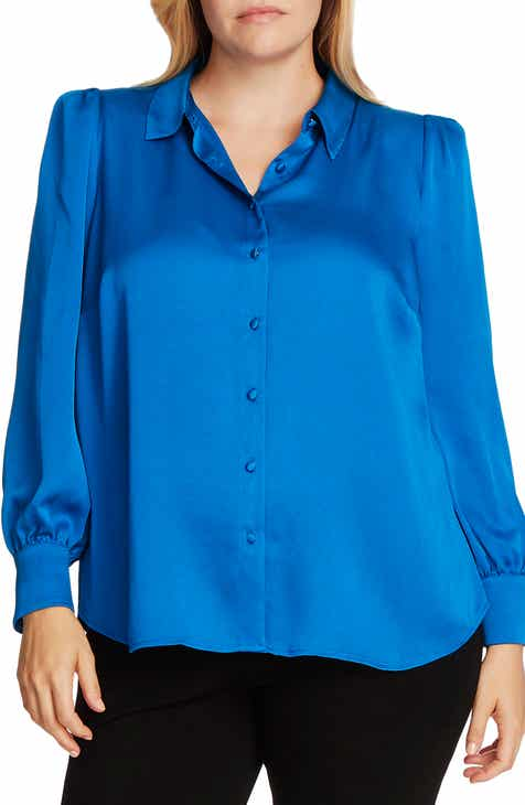 Vince Camuto Hammered Satin Long Sleeve Blouse (Plus Size)