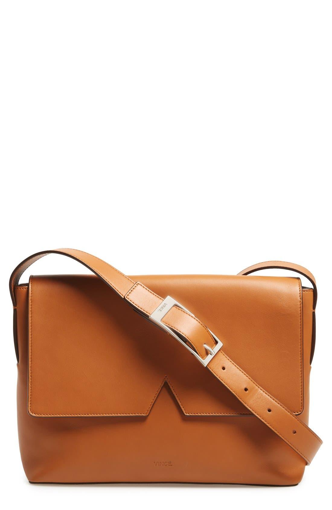 Main Image - Vince 'Signature Collection - Medium' Leather Messenger Bag