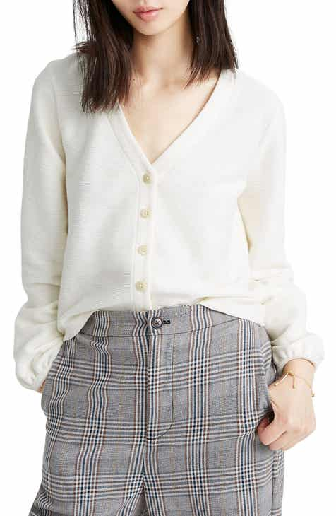 Madewell Texture & Thread Bubble-Sleeve Cardigan