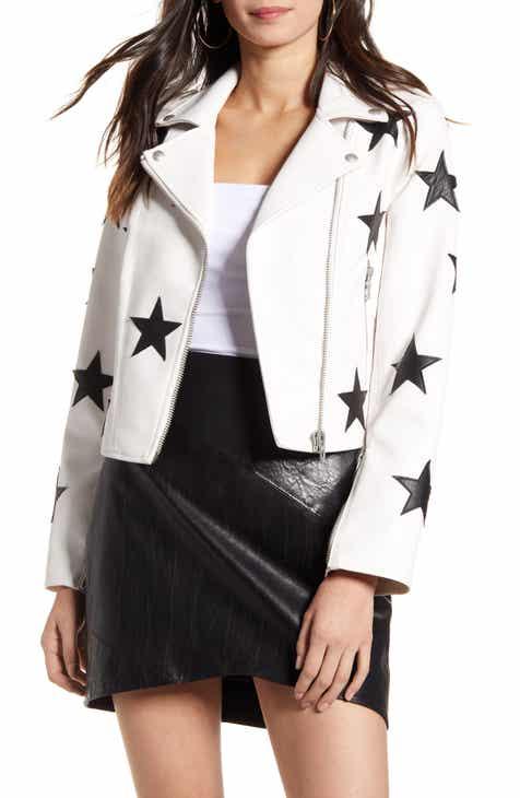 BLANKNYC Star Patch Faux Leather Moto Jacket