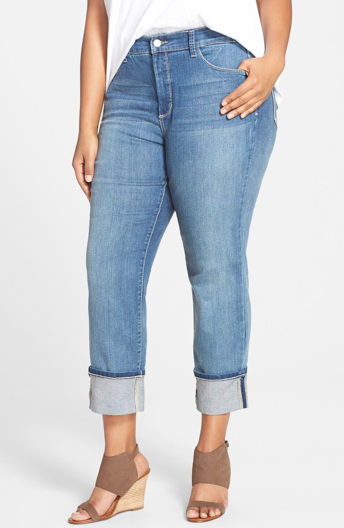 NYDJ Loreena Stretch Roll Cuff Crop Boyfriend Jeans (Heyburn) (Plus Size)
