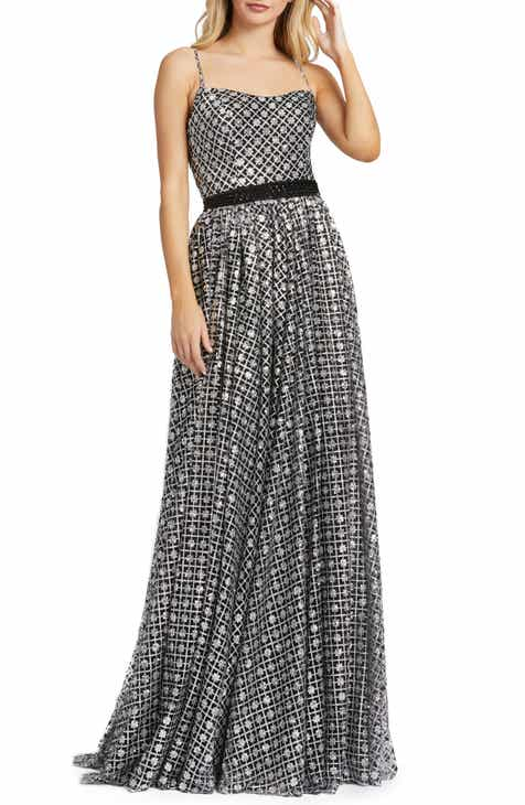 Mac Duggal A-Line Metallic Lattice Gown