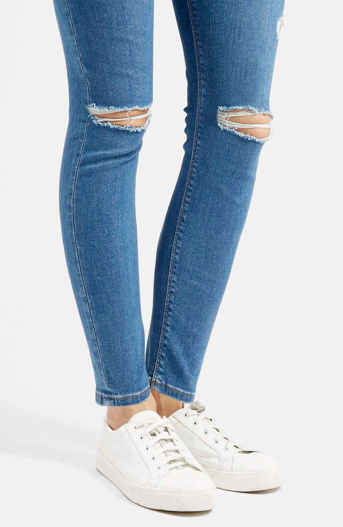 Alternate Image 4  - Topshop Moto 'Jamie' High Rise Skinny Jeans (Mid Denim) (Regular & Petite)