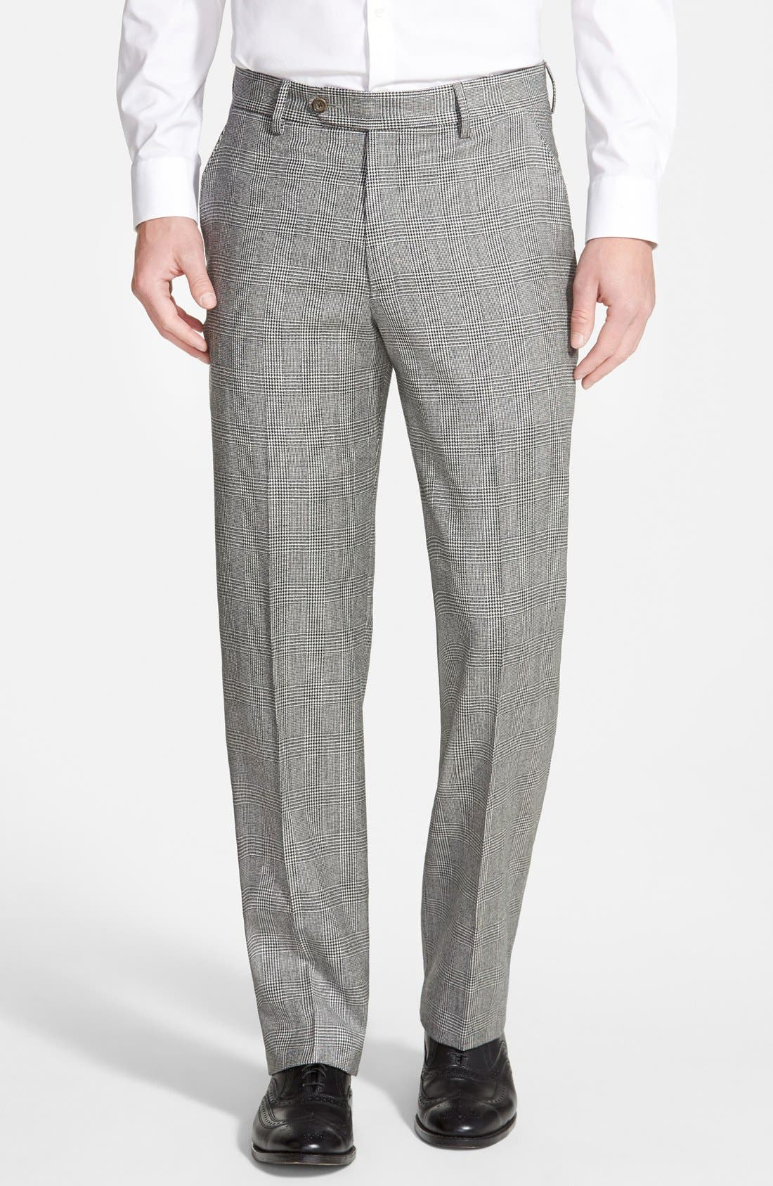 Flat Front Plaid Wool Trousers,                         Main,                         color, Charcoal