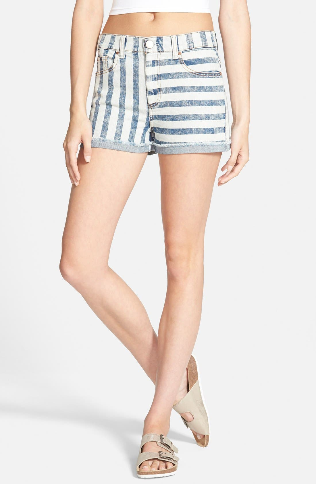 Alternate Image 1 Selected - Fire Stripe High Waist Cuffed Shorts (Acid)