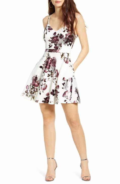 Speechless Metallic Floral Print Lace Back Fit & Flare Minidress