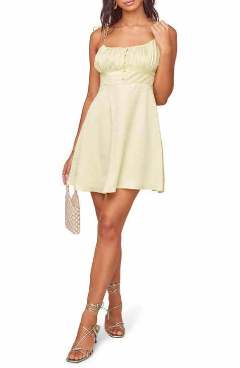 ASTR the Label Mon Cherri Texture Print Tie Shoulder Minidress