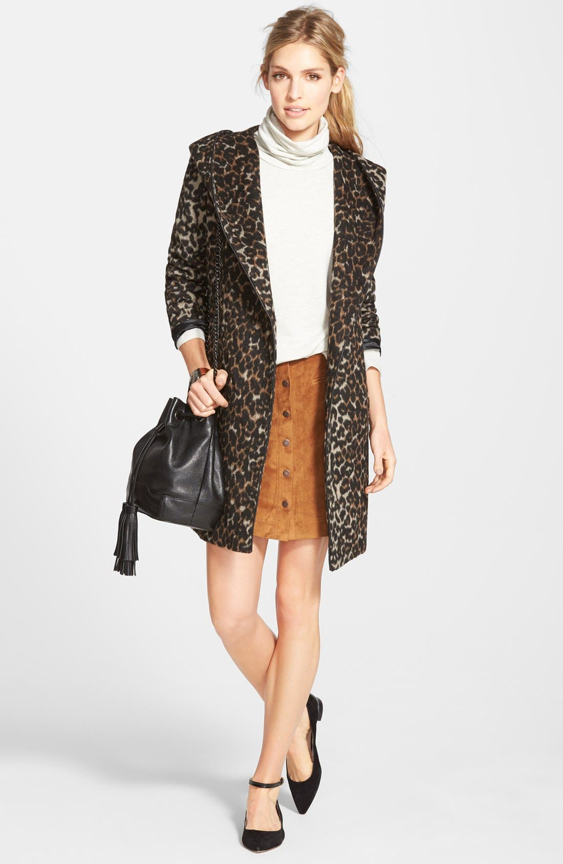 Alternate Image 5  - Two by Vince Camuto Faux Suede A-Line Miniskirt