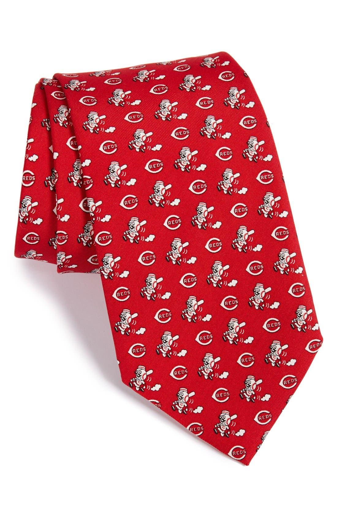 'Cincinnati Reds - MLB' Print Silk Tie,                             Main thumbnail 1, color,                             Red