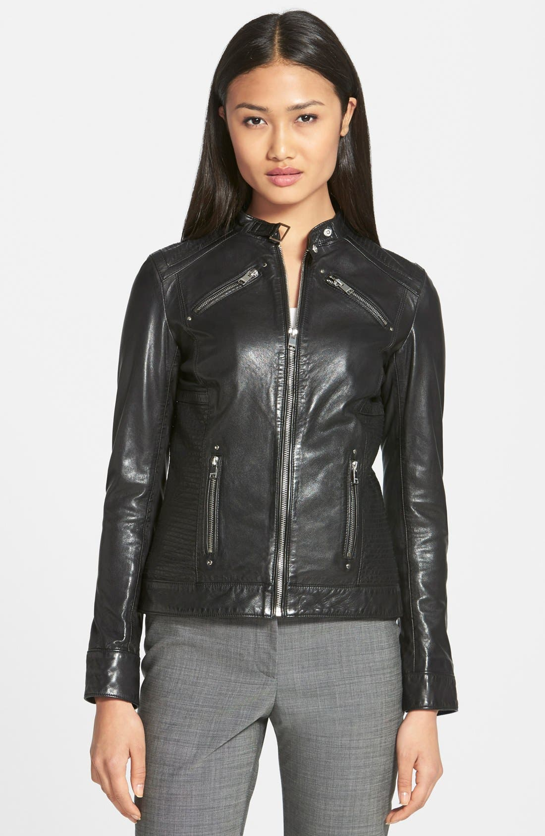 Alternate Image 1 Selected - LAMARQUE Leighton Stitch Detail Lambskin Leather Jacket (Online Only)
