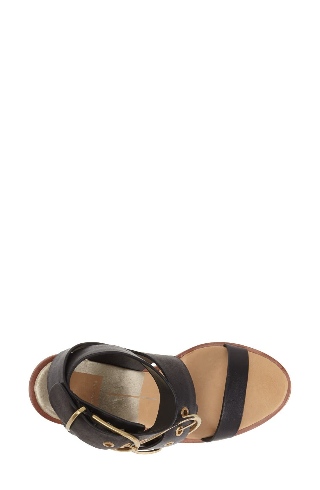 'Julissa' Wedge Sandal,                             Alternate thumbnail 3, color,                             Black
