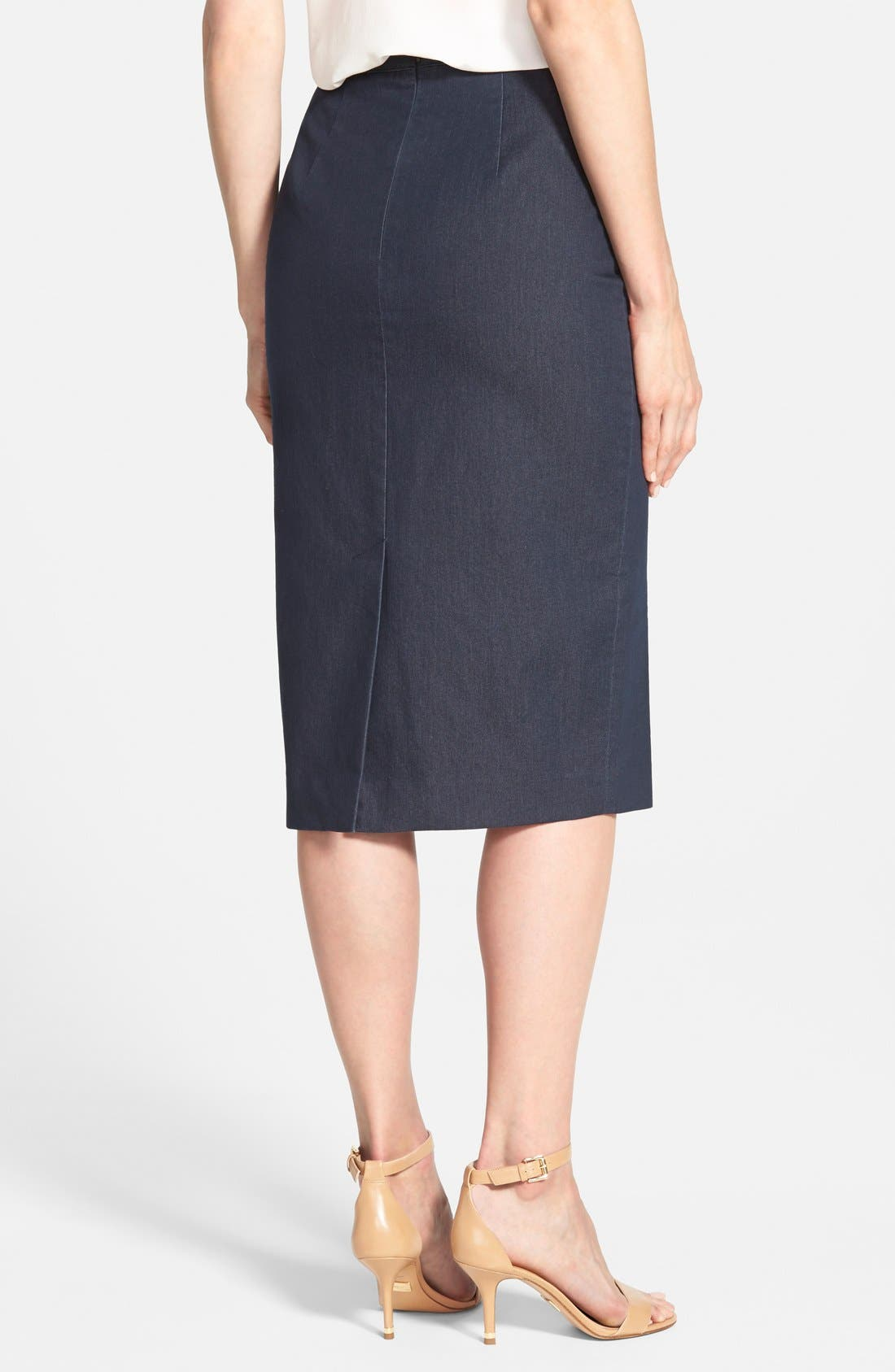 Alternate Image 3  - Halogen® Denim Midi Pencil Skirt