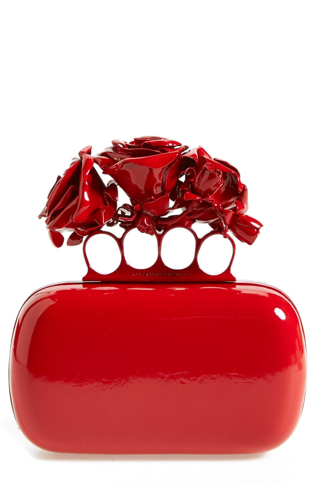 Main Image - Alexander McQueen 'Lacquered Rose' Knuckle Box Clutch