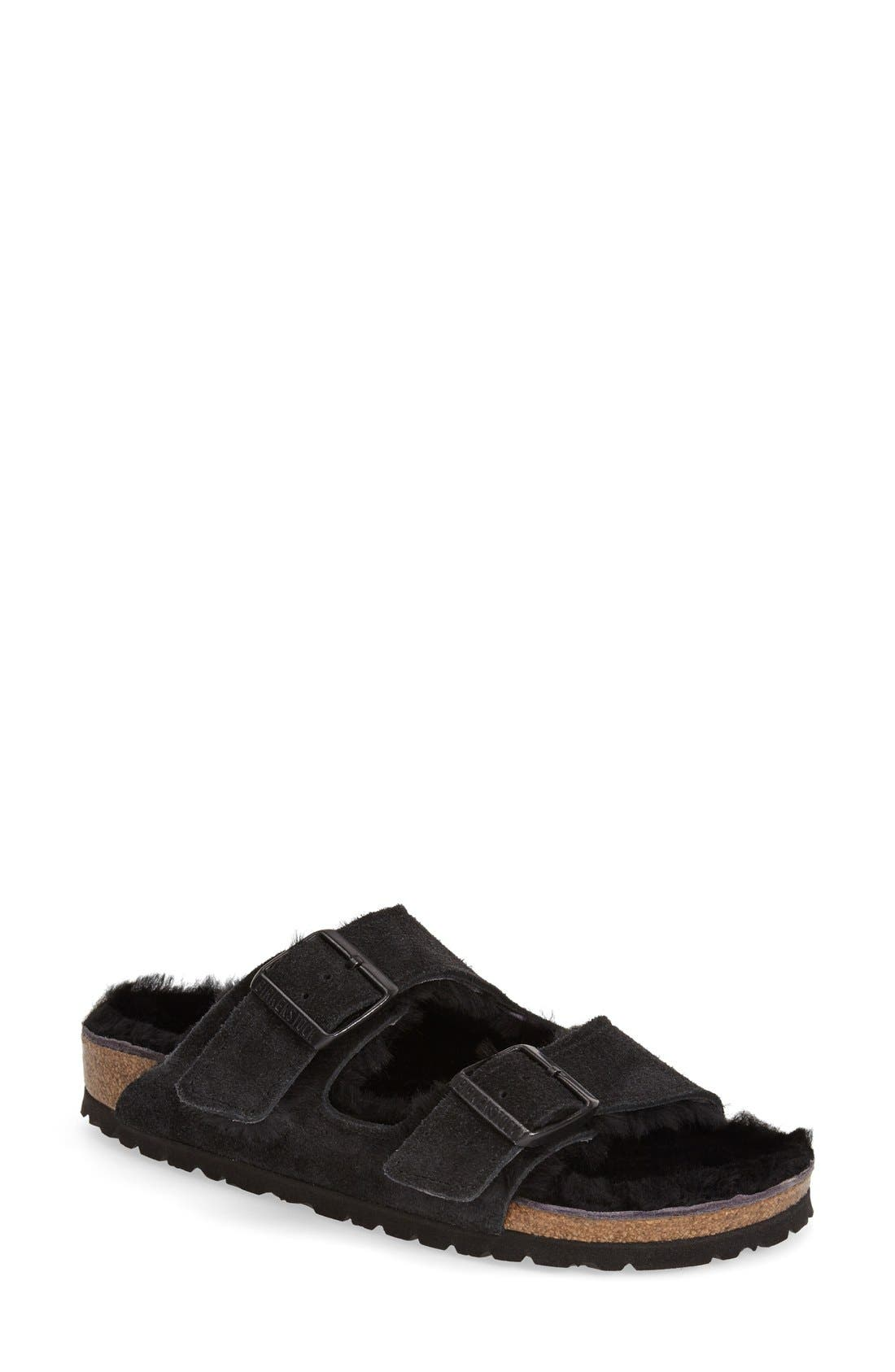 Birkenstock 'Arizona' Genuine Shearling Lined Sandal (Women)