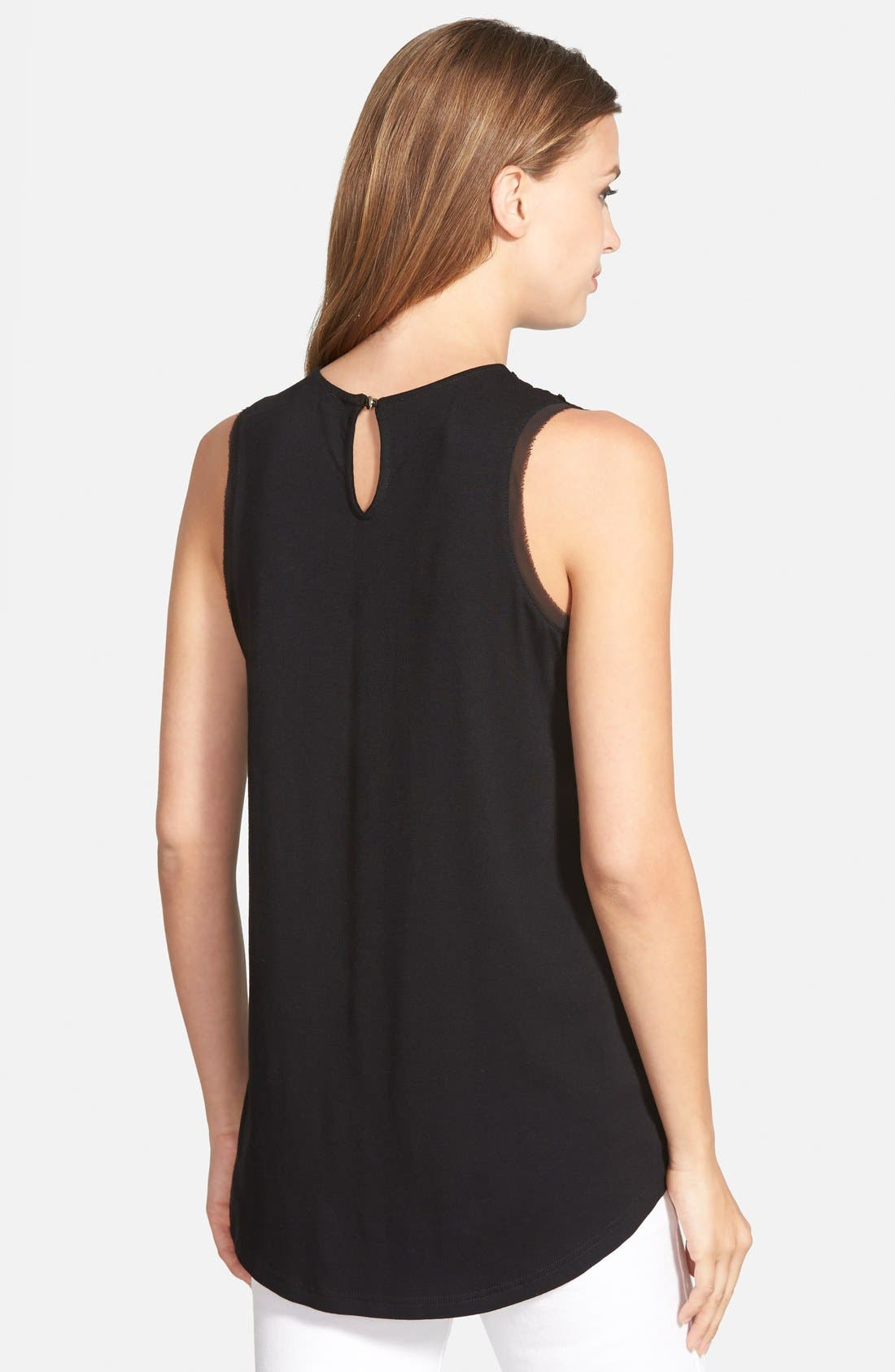 Alternate Image 2  - Vince Camuto Lace Inset Sleeveless Top