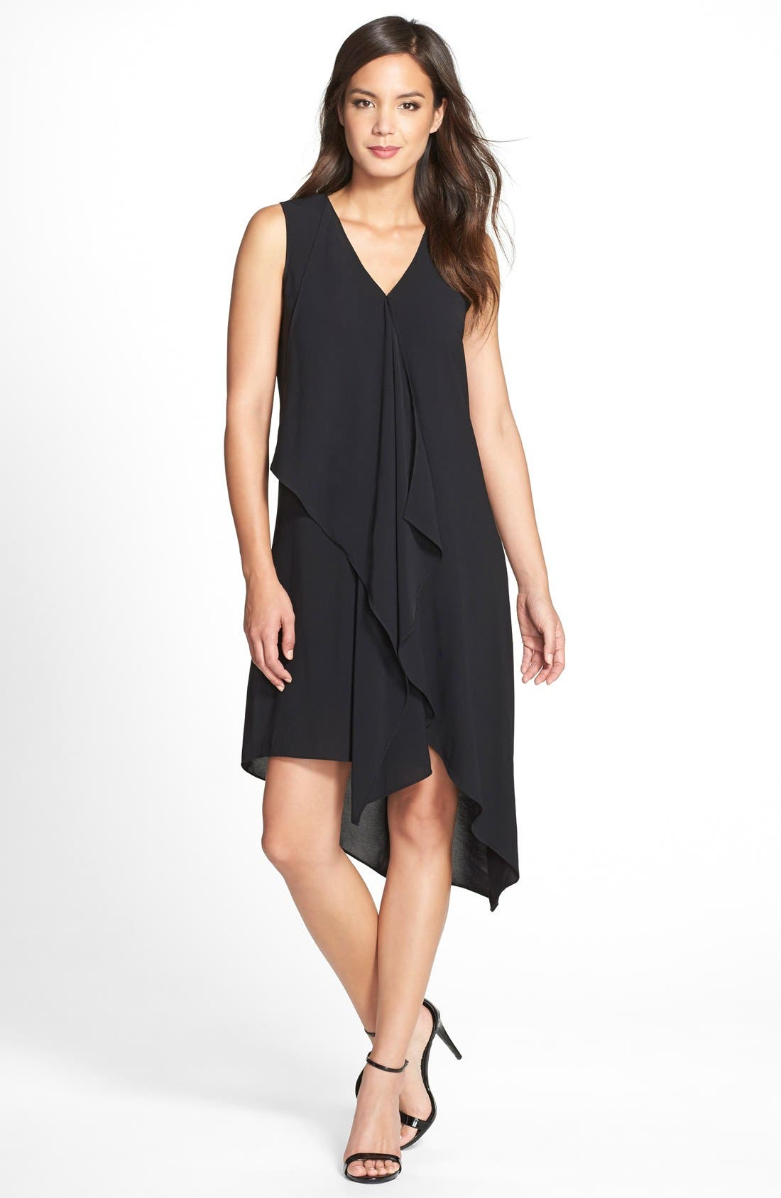 Alternate Image 1 Selected - Adrianna Papell Ruffle Front Crepe High/Low Dress