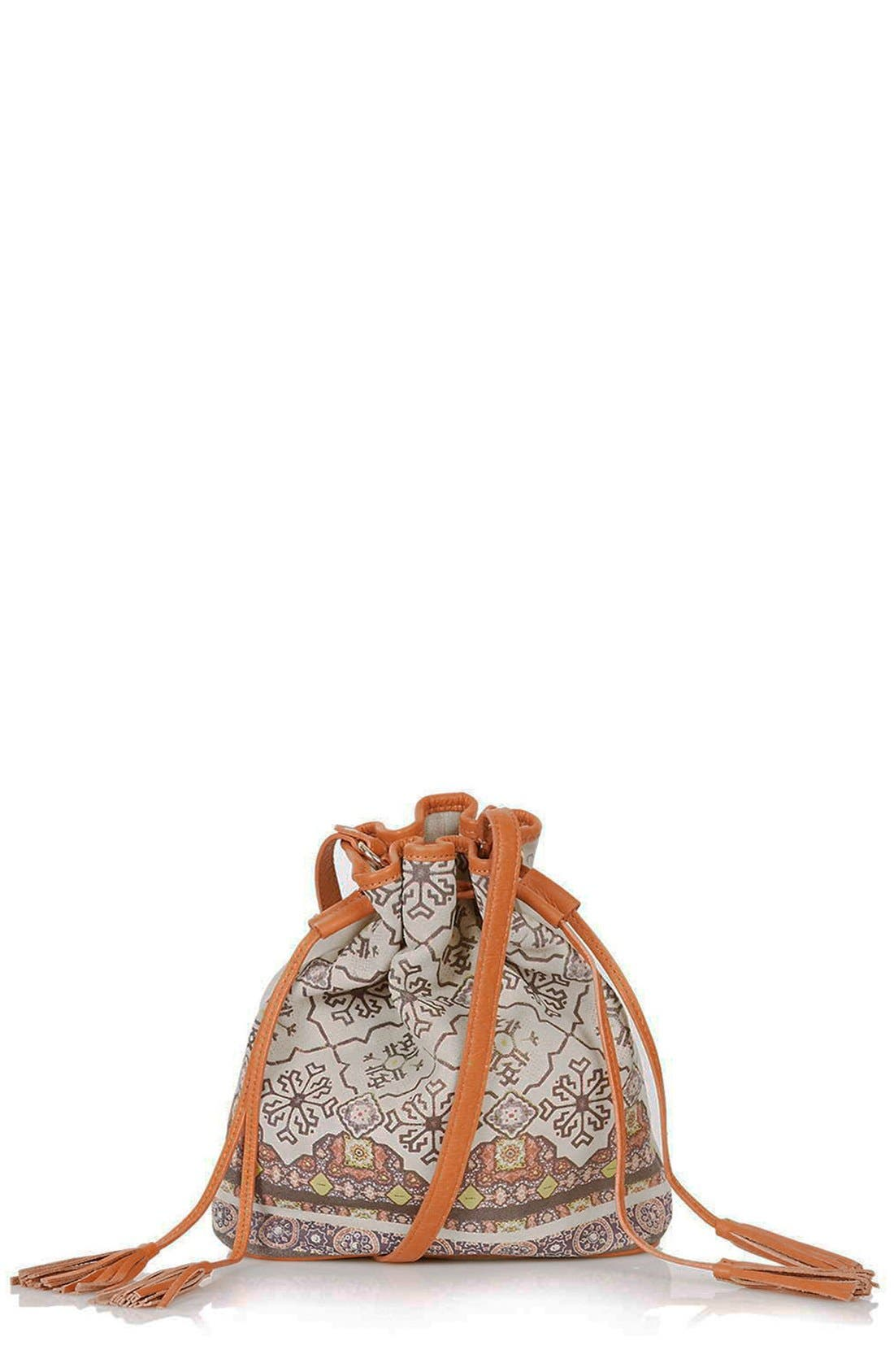 Alternate Image 1 Selected - Topshop Print Suede Bucket Bag