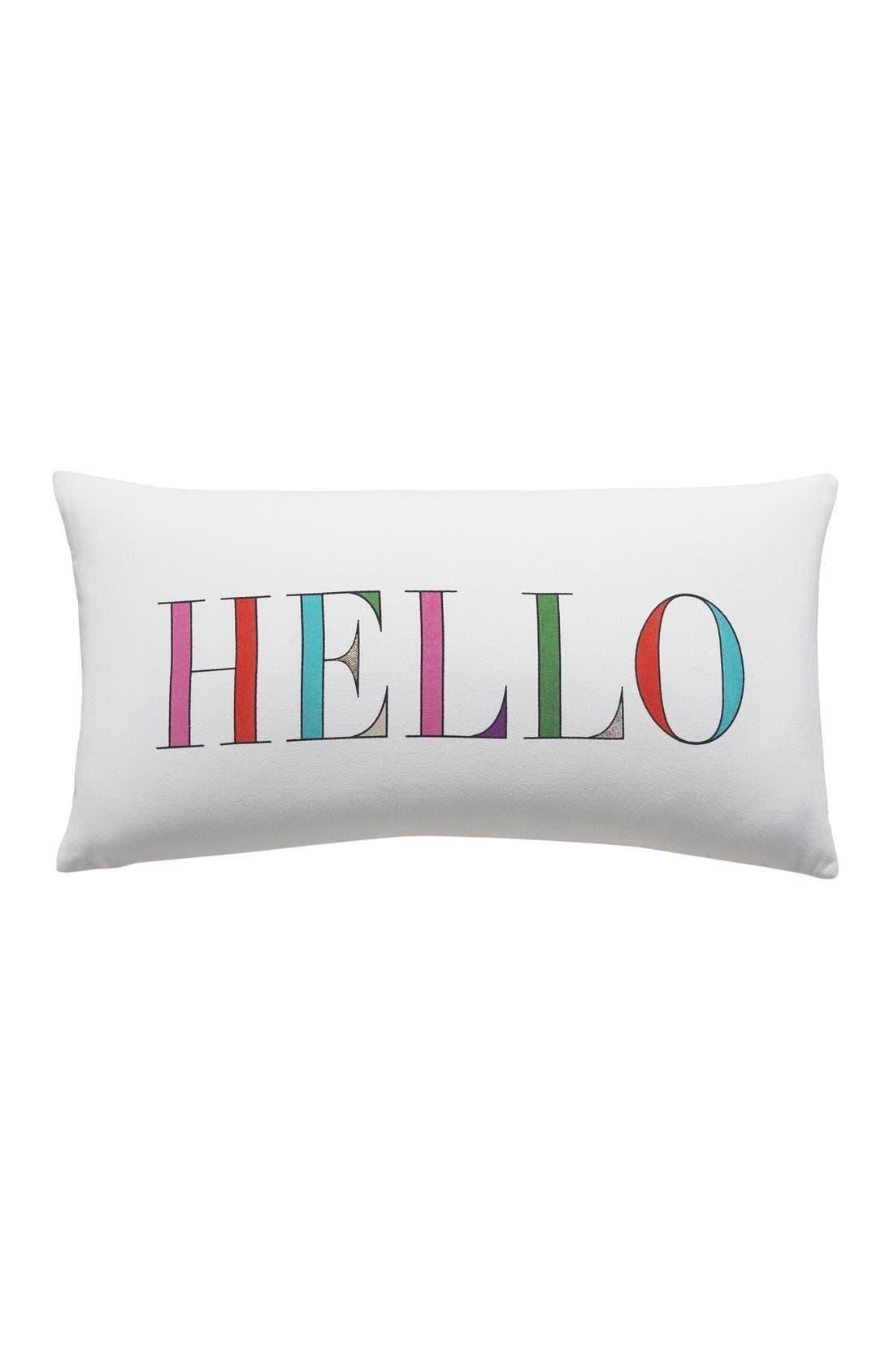 'hello' accent pillow,                             Main thumbnail 1, color,                             White/ Multi
